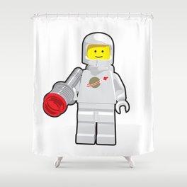 Vintage White Spaceman Minifig Shower Curtain
