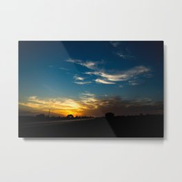 Sunset on the route with a sky with some clouds Metal Print