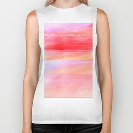 Seascape in Red, Yellow and Pink Biker Tank