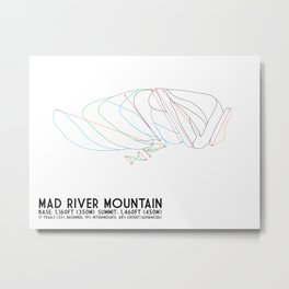 Mad River Mountain, OH - Minimalist Trail Art Metal Print