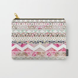 Aztec Spring Time!   Girly Pink White Floral Abstract Aztec Pattern Carry-All Pouch