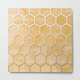 Hexagon on Beige Yellow Wall Metal Print