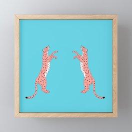 Cheetah fight Framed Mini Art Print