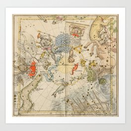 Celestial Map - Centaurus, Phoenix, Argo (19th Century) Art Print