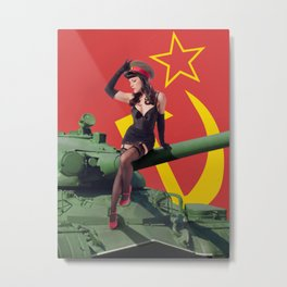 """Sovietsky by Land"" - The Playful Pinup - Russian Tank Pin-up Girl by Maxwell H. Johnson Metal Print"