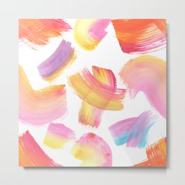 Acrylic strokes pink, yellow, purple and blue Metal Print
