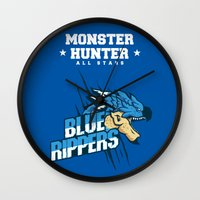 monster hunter Wall Clocks featuring Monster Hunter All Stars - Blue Rippers by Bleached ink