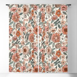 70s flowers - 70s, retro, spring, floral, florals, floral pattern, retro flowers, boho, hippie, earthy, muted Blackout Curtain