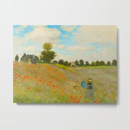 Claude Monet Impressionist Landscape Oil Painting Poppy Field Metal Print