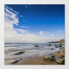 Watergate Bay Stones to Horizon  Canvas Print