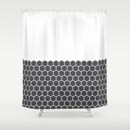 Hexagon Honeycomb Half Pattern (Charcoal Black) Shower Curtain