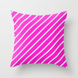 Diagonal Lines (White/Hot Magenta) Throw Pillow