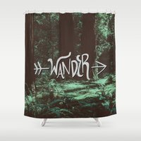 wander Shower Curtains featuring Wander by Leah Flores