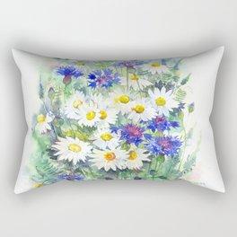 Watercolor chamomile and cornflowers Rectangular Pillow