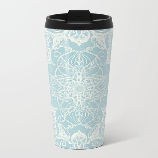 Floral Pattern in Duck Egg Blue & Cream Metal Travel Mug
