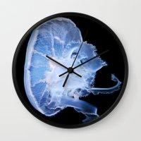 jelly fish Wall Clocks featuring Jelly Fish by Kerri Ann Crau