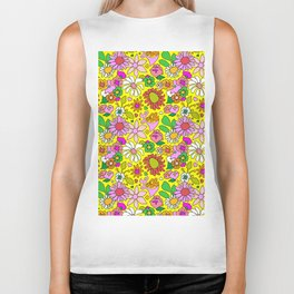 60's Lovers Floral in Sunshine Yellow Biker Tank