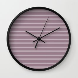 Modern Geometric Pattern 11 in Musk Mauve Horizontal Stripes Wall Clock