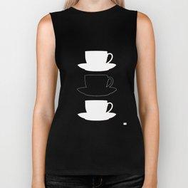 Retro Coffee Print - Black & White Cups on Burnished Orange Background Biker Tank