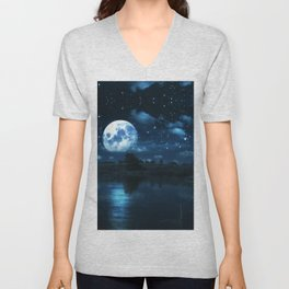 Rural forest near a river night landscape with full moon Unisex V-Neck