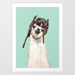 Cool Pilot Llama Art Print