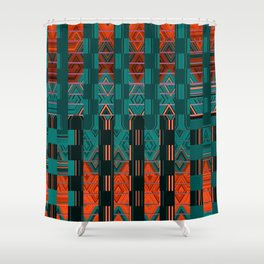Abstract Geometric Glitch Green Neon Hyperspace Shower Curtain