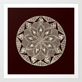 Maroon Mandala Art Print
