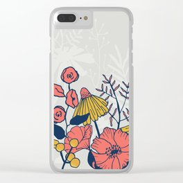 Coral Blooms Border Clear iPhone Case