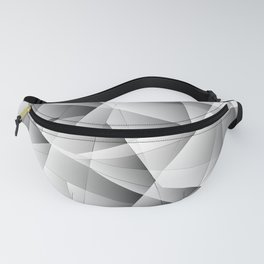 Exclusive light monochrome pattern of chaotic black and white glass fragments and silver plates. Fanny Pack