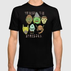Too Blessed to be Stressed Black MEDIUM Mens Fitted Tee