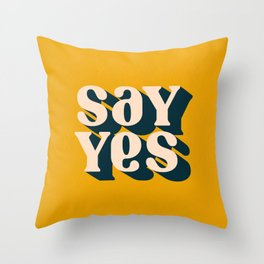 Say Yes Retro Typography on Yellow Throw Pillow