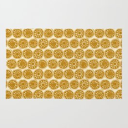 flower block gold ivory Rug