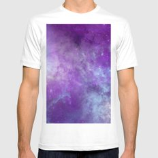 Purple Cloud Nebula Watercolor Universe White MEDIUM Mens Fitted Tee