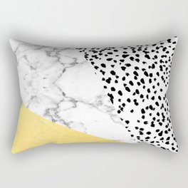 Carina - gold black and white with marble abstract painting minimalist decor dorm college nursery Rectangular Pillow