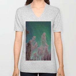 Northern Lights Pine Trees (Color) Unisex V-Neck