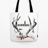 hannibal Tote Bags featuring Hannibal  by lazergo