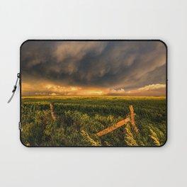 Breadbasket - Golden Light Illuminates Fence and Field in Kansas Laptop Sleeve