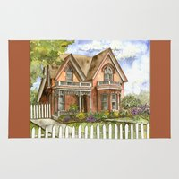 victorian Area & Throw Rugs featuring Victorian Beauty by Shelley Ylst Art