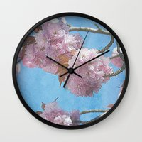 carpe diem Wall Clocks featuring carpe diem by Angela Bruno