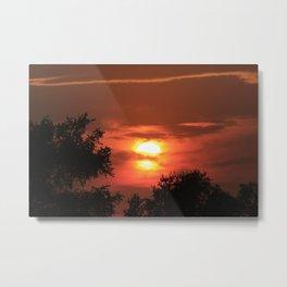 Kansas Country Sunset with Orange Metal Print
