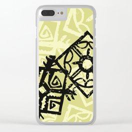African Pattern, Tribal Motif - Green Black Clear iPhone Case