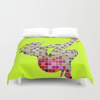 princess peach Duvet Covers featuring Pixelated Pin Up- Princess Peach Fan Art by Joanna Thomas