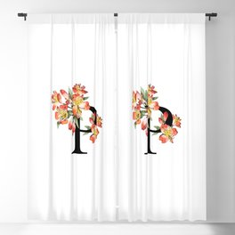 Letter 'P' Peruvian Lily Flower Monogram Typography Blackout Curtain