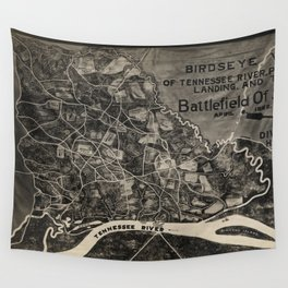 Vintage Map of The Shiloh Battlefield (1917) Wall Tapestry