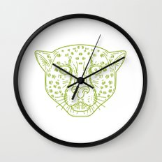 Cheetah Head Mono Line Wall Clock