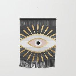 gold foil evil eye in blush Wall Hanging