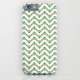 Christmas (rainbow cherry chevron) candy cane knit seamless repeat pattern in green, yellow, red, blue and white iPhone Case
