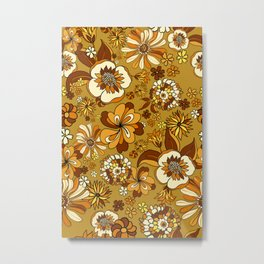 70s 60s Flowers boho retro mustard, turmeric, warm colors Metal Print