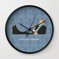 greg guillemin Wall Clocks featuring The Reichenbach Fall - Greg Lestrade by MacGuffin Designs