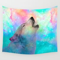 howl Wall Tapestries featuring Breathing Dreams Like Air (Wolf Howl Abstract) by soaring anchor designs